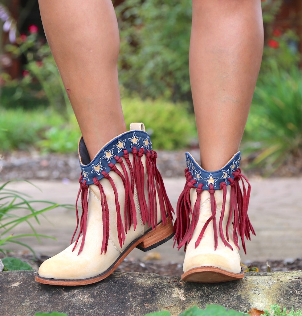 Liberty Black USA Shortie Vintage Beige Boots LB713304 Toe