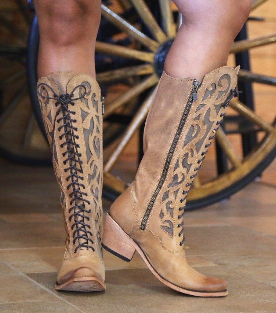 Liberty Black America Tan Lace Up Boot LB71165 Zipper