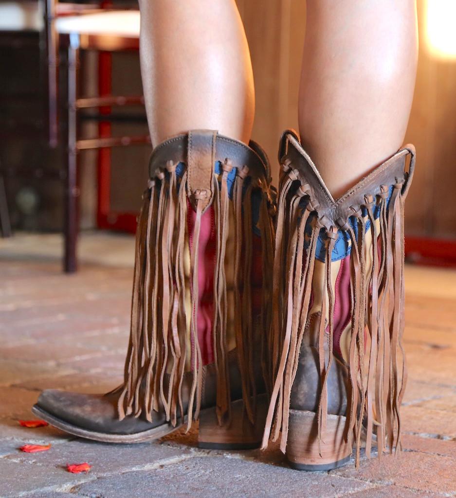 Liberty Black Fringe American Flag Boot Faggio LB712937 Heel