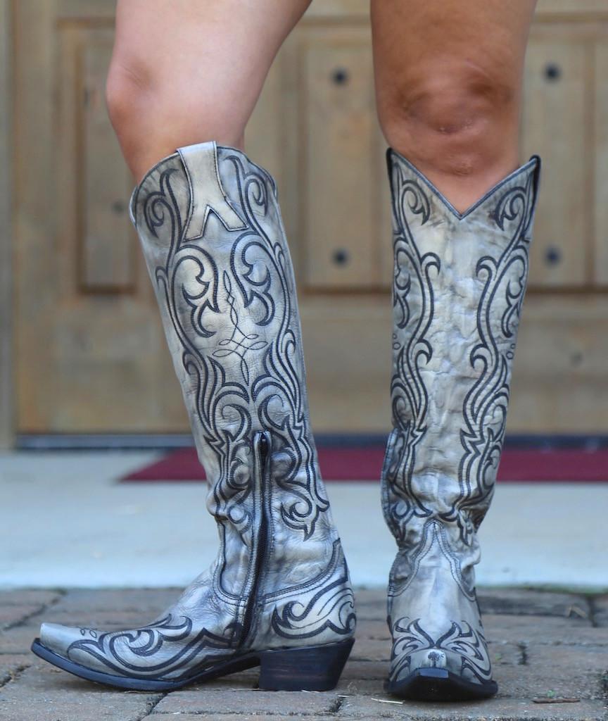 "Old Gringo Dolce Stitch Bone 18"" Boots L2619-2 Front"