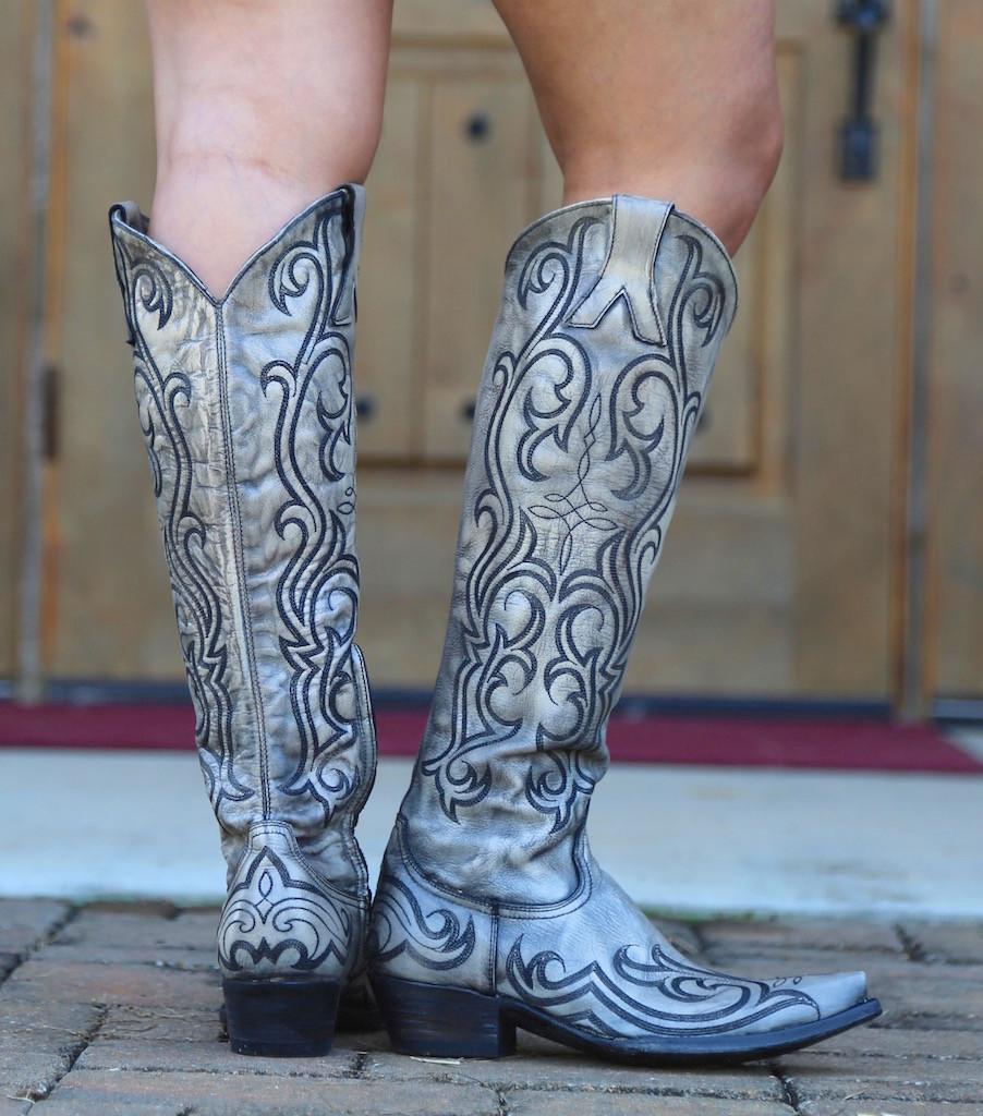 "Old Gringo Dolce Stitch Bone 18"" Boots L2619-2 Back"