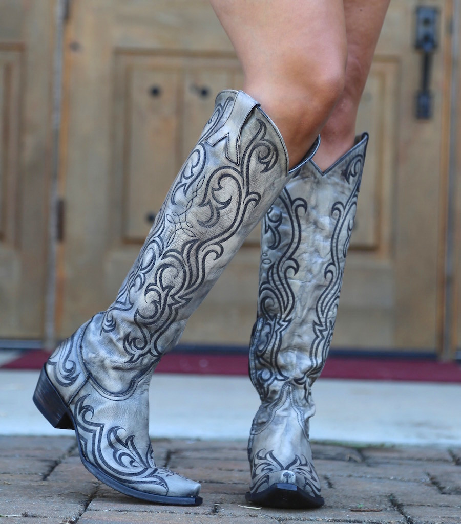 "Old Gringo Dolce Stitch Bone 18"" Boots L2619-2 Heel"
