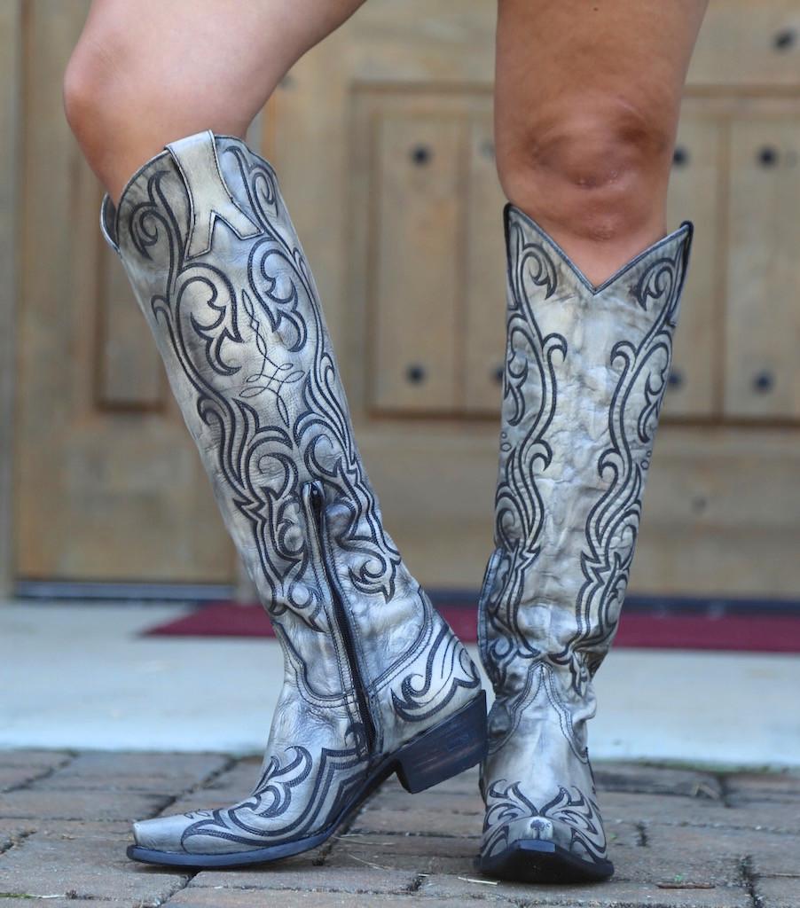 "Old Gringo Dolce Stitch Bone 18"" Boots L2619-2 Toe"