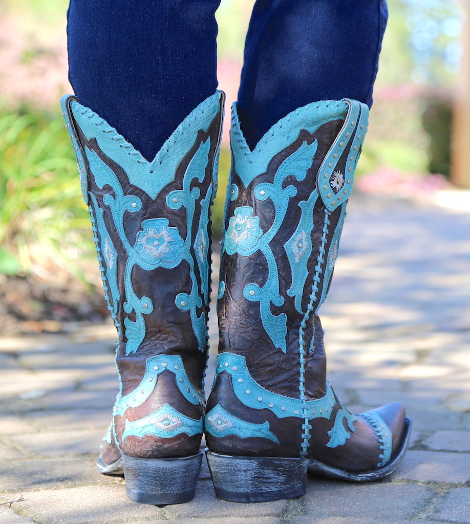 Yippee by Old Gringo Femi Aqua Chocolate Boots YL220-1 Heel