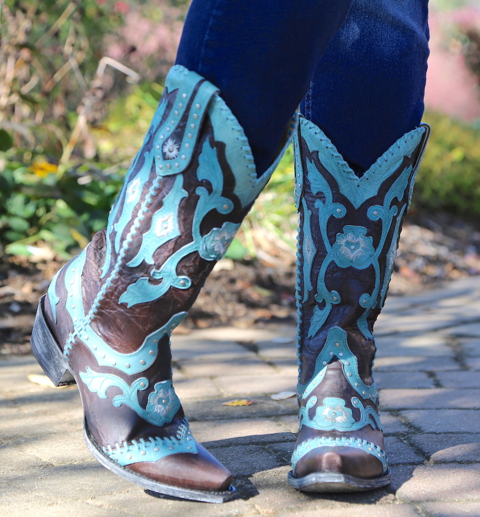 Yippee by Old Gringo Femi Aqua Chocolate Boots YL220-1 Floral