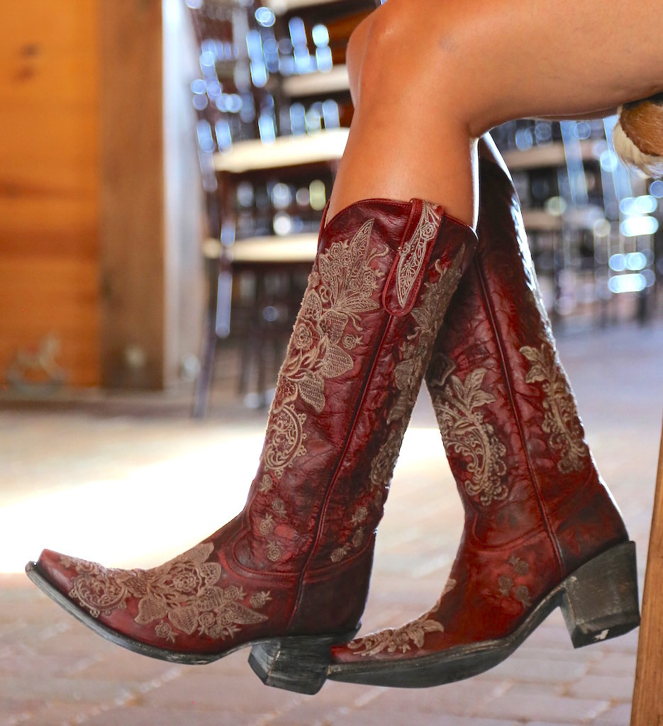 """Old Gringo Nicolette Red 15"""" Boots L2310-3 Embroidery"""