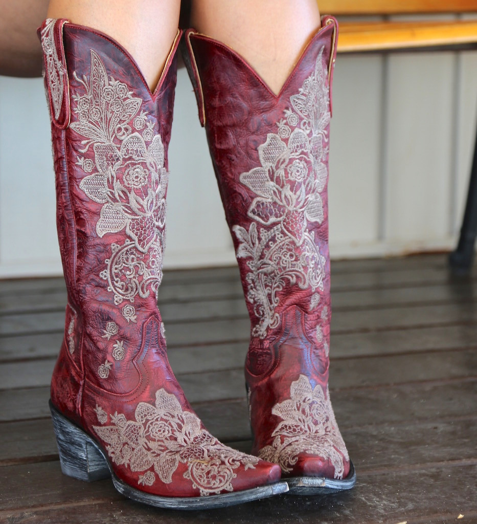 """Old Gringo Nicolette Red 15"""" Boots L2310-3 Toe"""