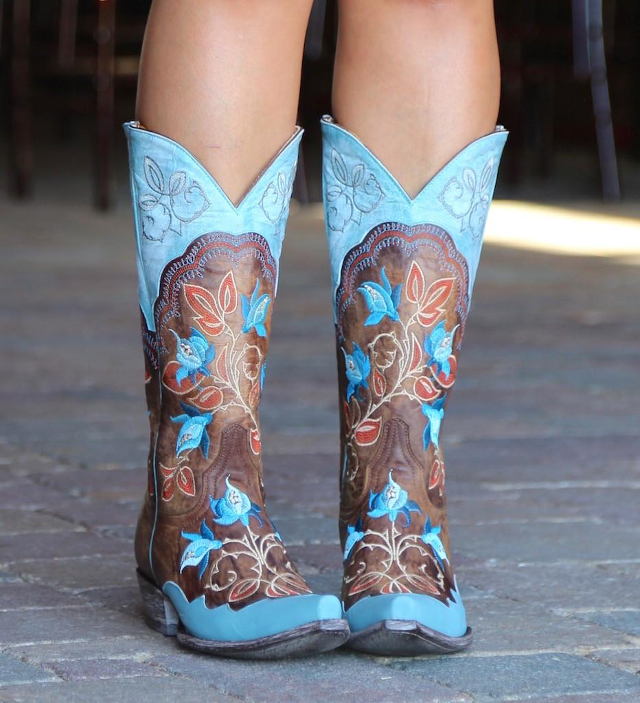 Old Gringo Vivien Brass Blue Boots L2622-5 Photo