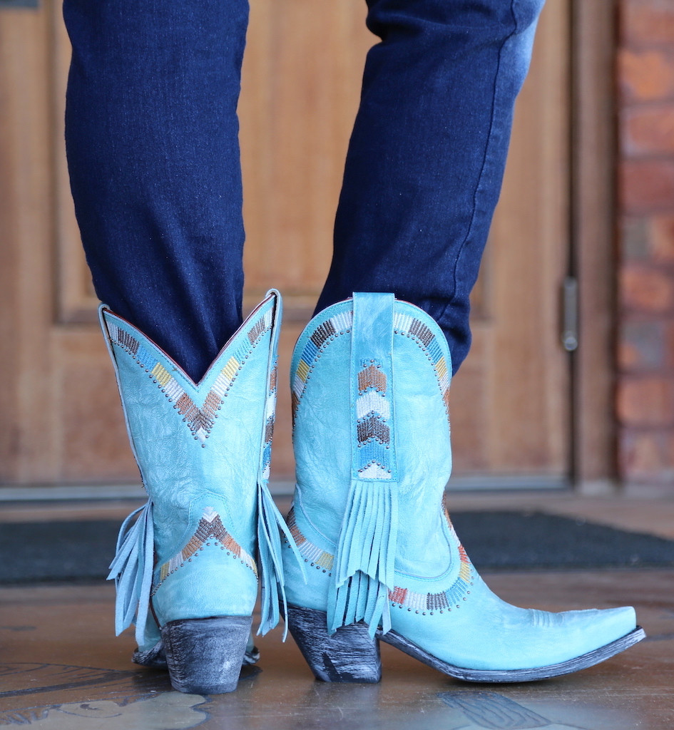 Yippee by Old Gringo Persefone Blue Boots YL230-2 Back