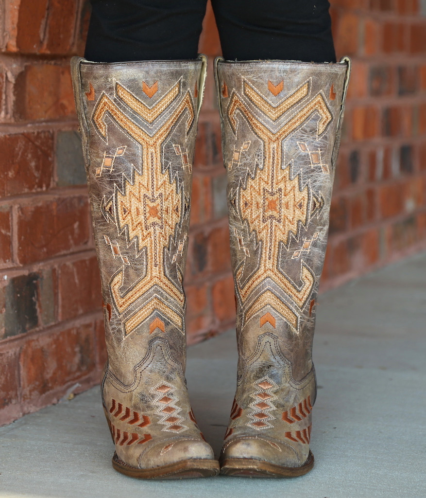 Corral Brown Multicolor Jute Inlay Boots A3163 Front