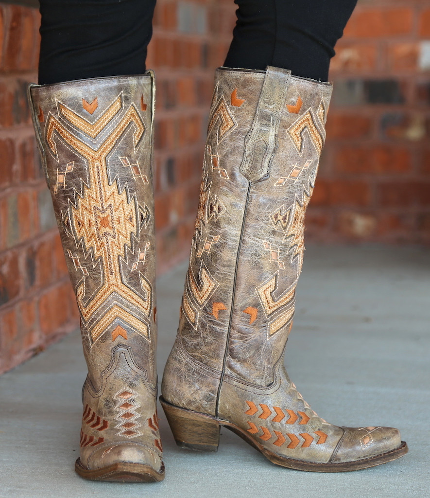 Corral Brown Multicolor Jute Inlay Boots A3163 Picture