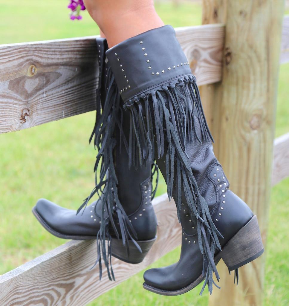 Liberty Black Tall Fringe Zipper Boot LB71167 Negro Fence