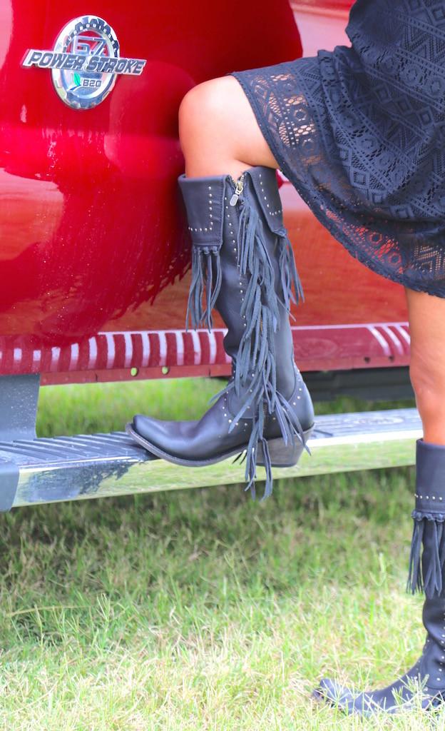 Liberty Black Tall Fringe Zipper Boot LB71167 Negro Truck