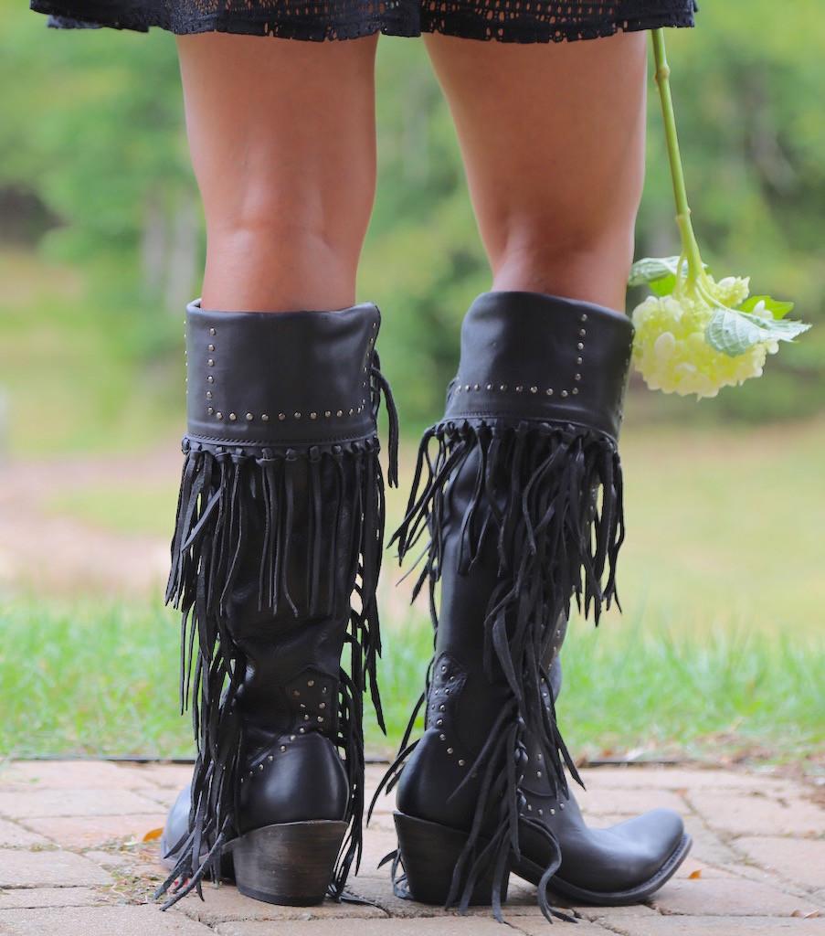 Liberty Black Tall Fringe Zipper Boot LB71167 Negro Heel