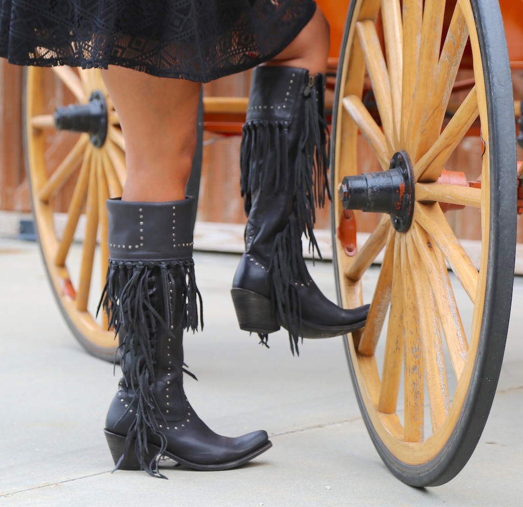 Liberty Black Tall Fringe Zipper Boot LB71167 Negro Wheel
