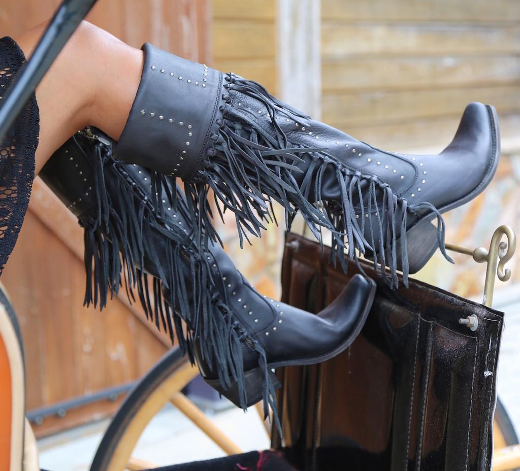 Liberty Black Tall Fringe Zipper Boot LB71167 Negro Wagon