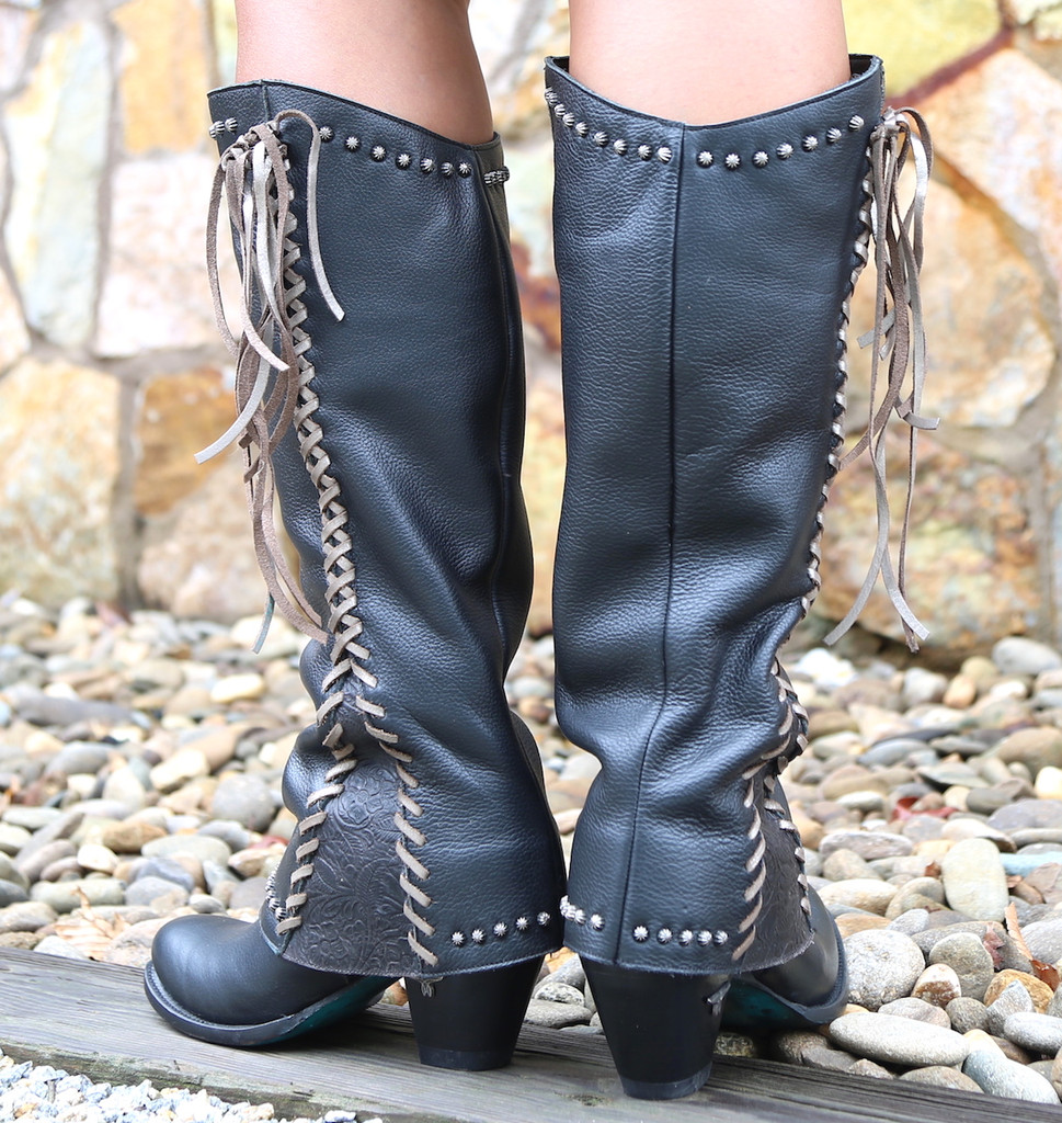 Lane Hoodie in Black with Silver Lace Boots LB0309C Heel
