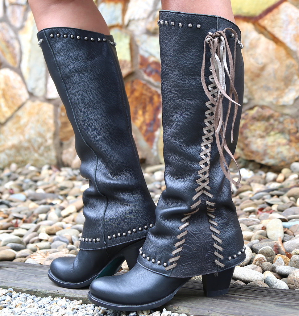 Lane Hoodie in Black with Silver Lace Boots LB0309C Picture