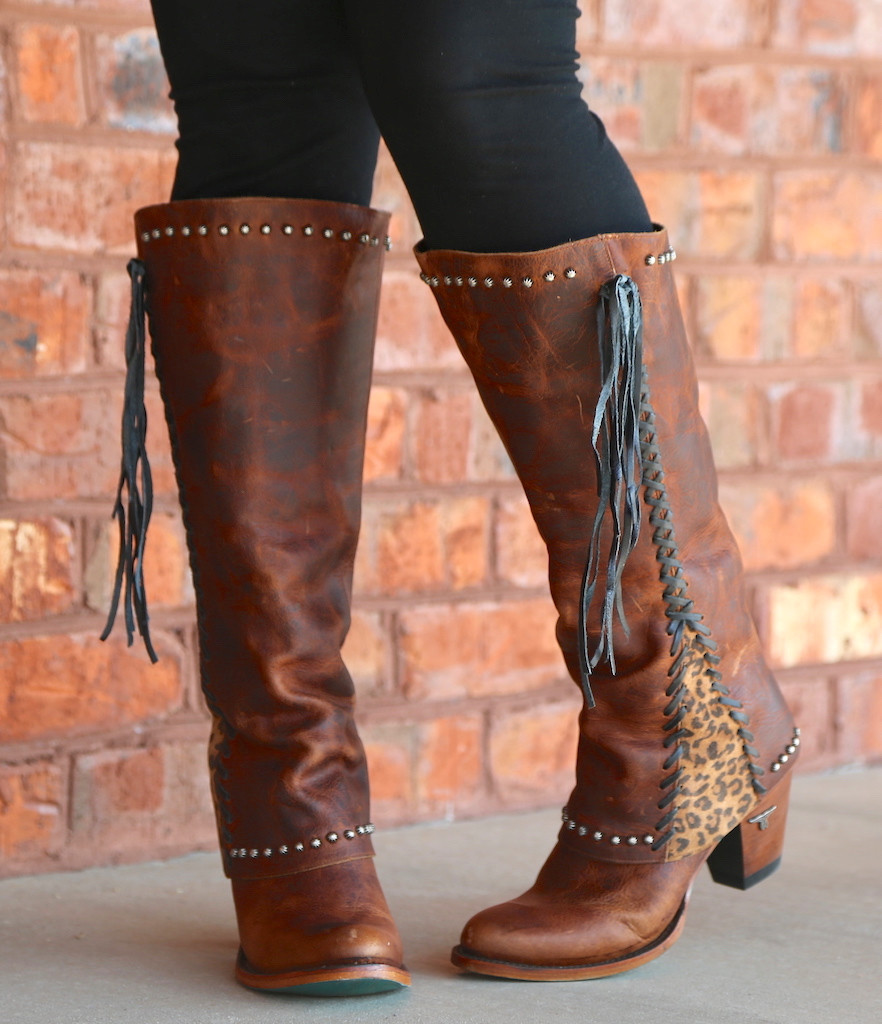 Lane Hoodie Brown with Cheetah Print Trim and Leather Lace  Boots LB0309B Toe