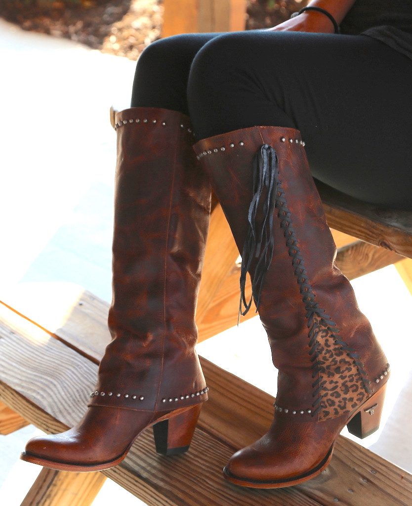 Lane Hoodie Brown with Cheetah Print Trim and Leather Lace  Boots LB0309B Image