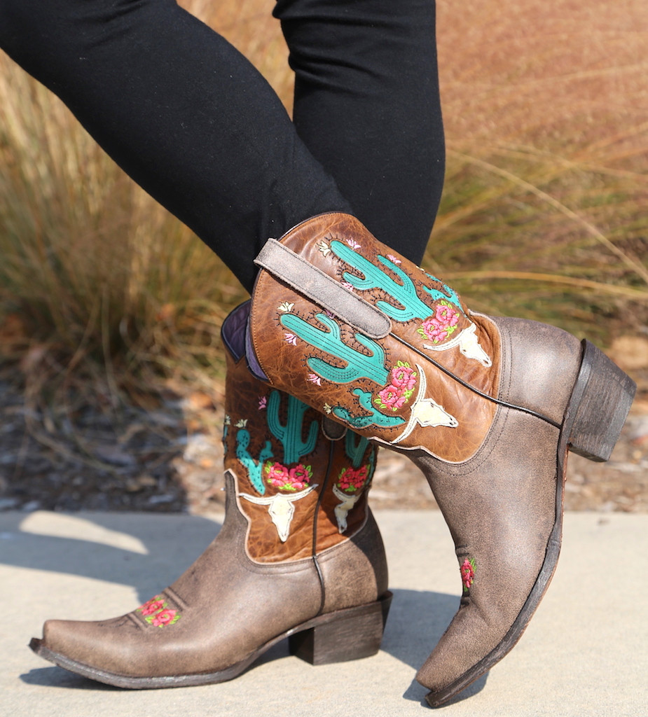 Junk Gypsy by Lane Bramble Rose Boots with Caramel Shaft JG0015C Cactus
