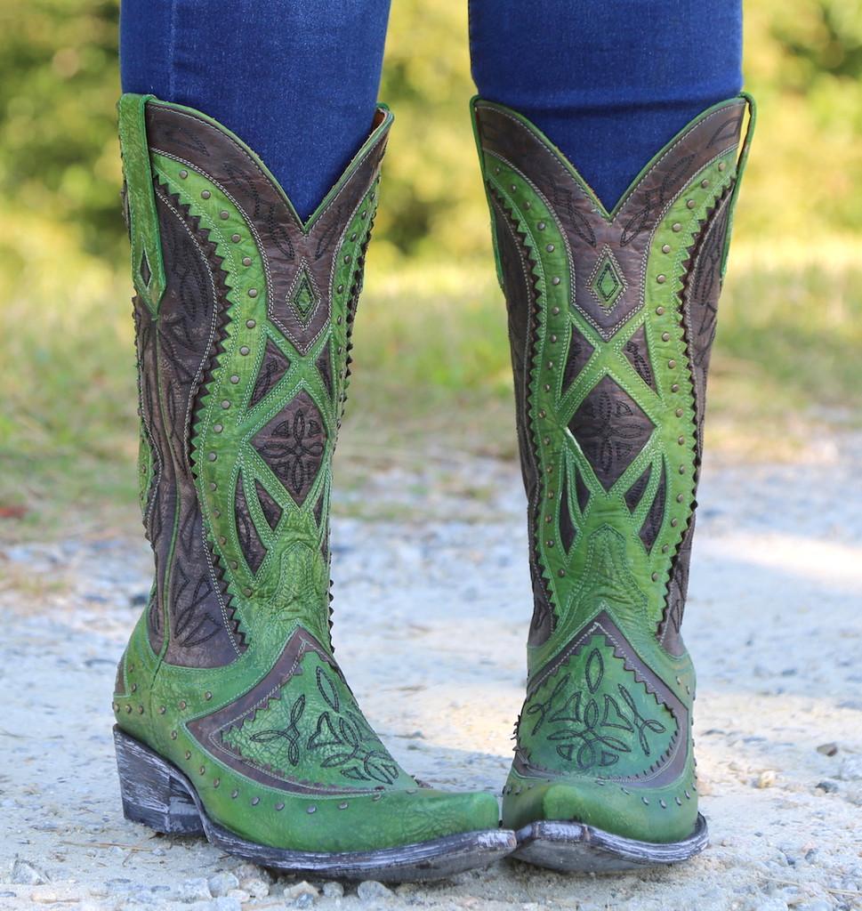 Old Gringo Urbi Green Chocolate Boots L2678-3 Toe