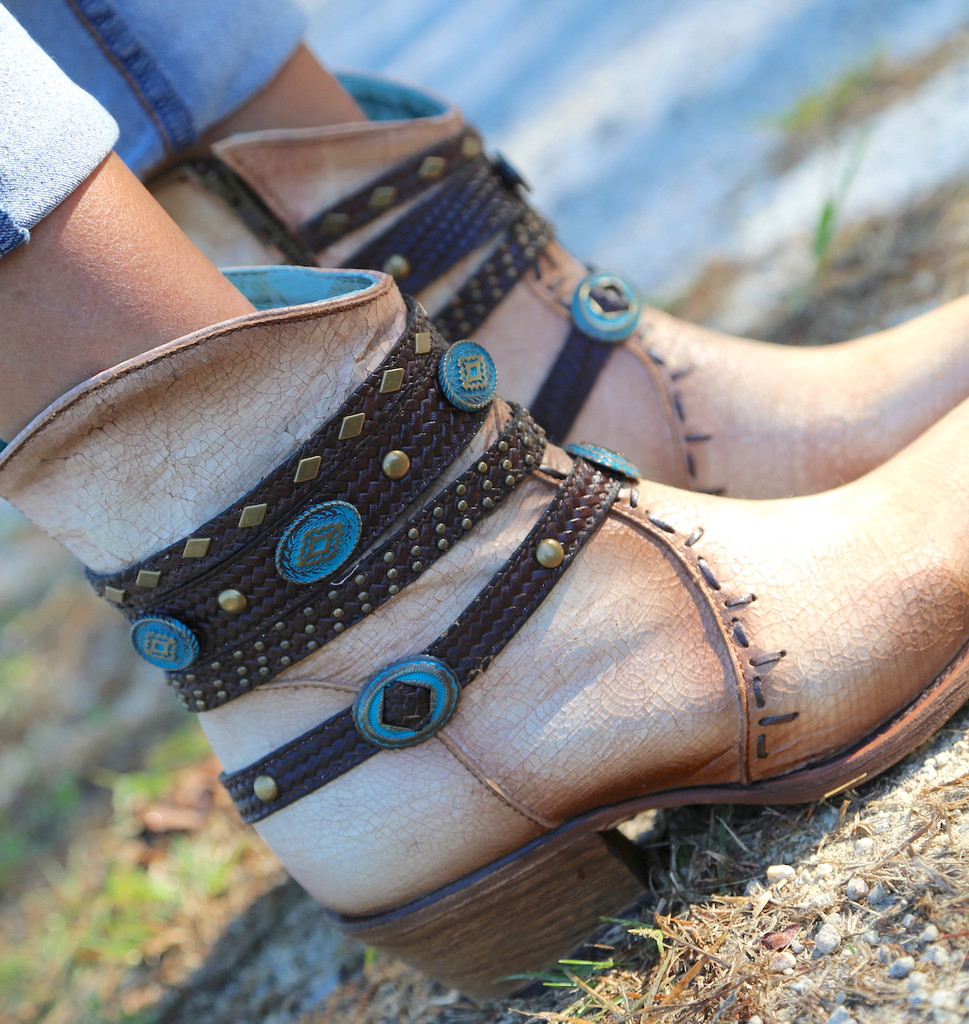 Corral Bone Zipper Studded Harness Ankle Boot C3195 Turquoise