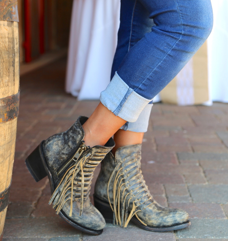 Corral Black Fringes Ankle Boot E1228 Image