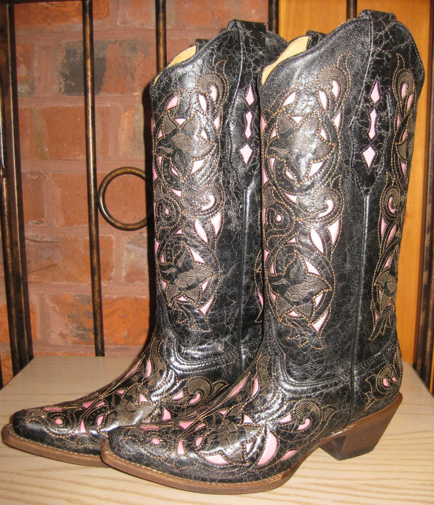 Corral Black Cognac Pink Boots Right Picture