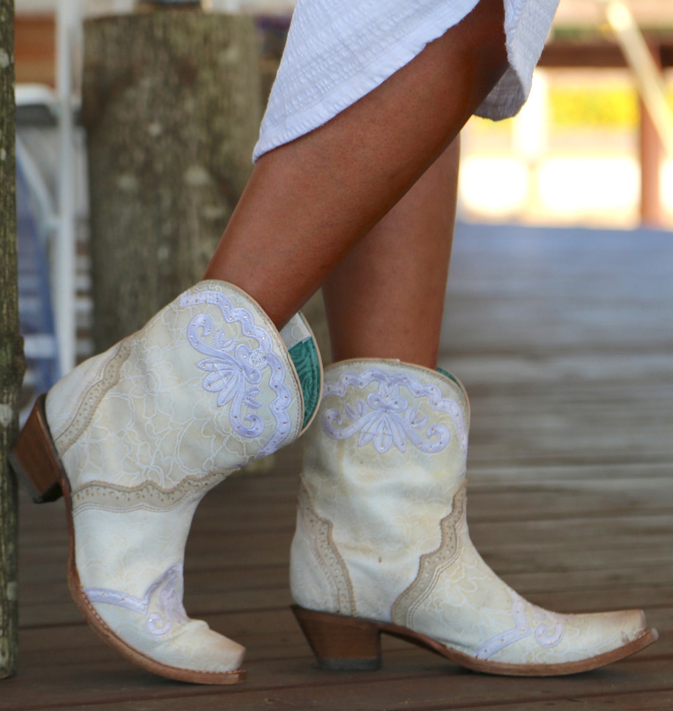 Corral Bone Embroidery and Swarovski Ankle Boot C3188 Photo