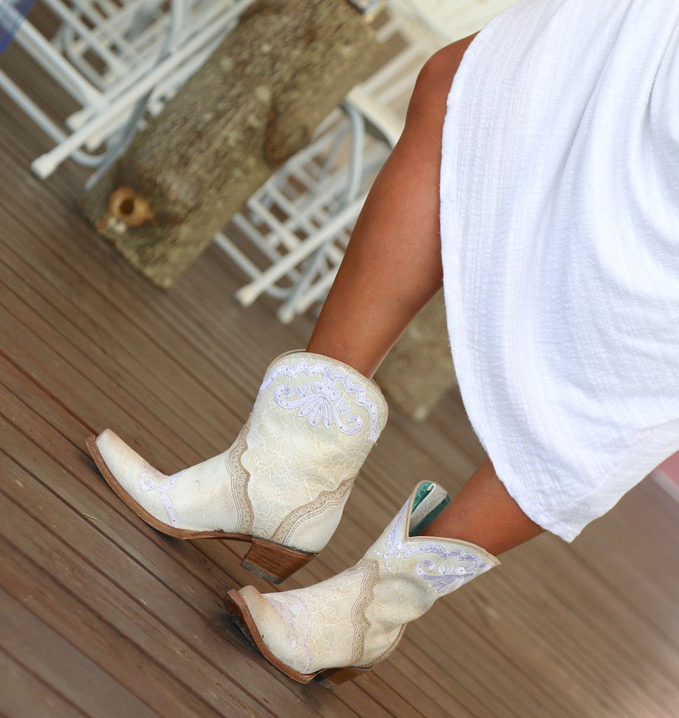 Corral Bone Embroidery and Swarovski Ankle Boot C3188 Image