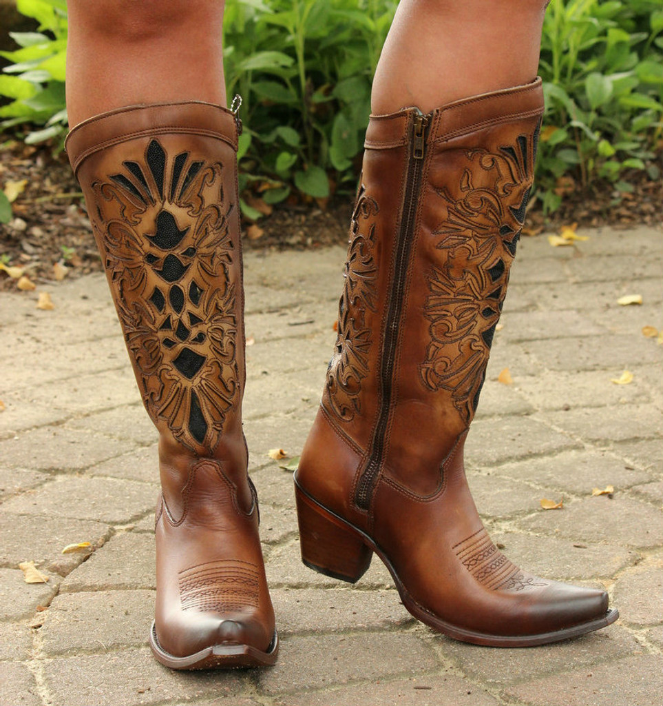 Corral Honey Laser Inlay Embroidery Boot C3148 Side Image
