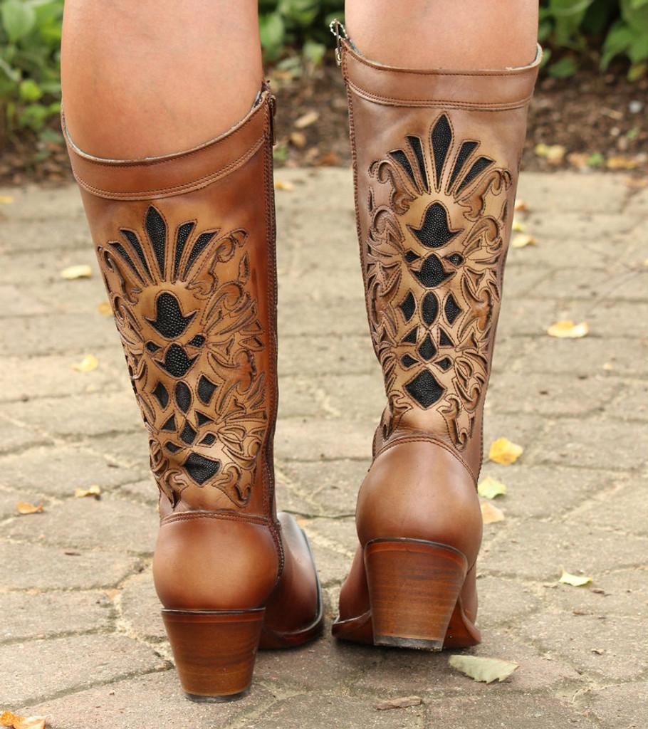 Corral Honey Laser Inlay Embroidery Boot C3148  Heel