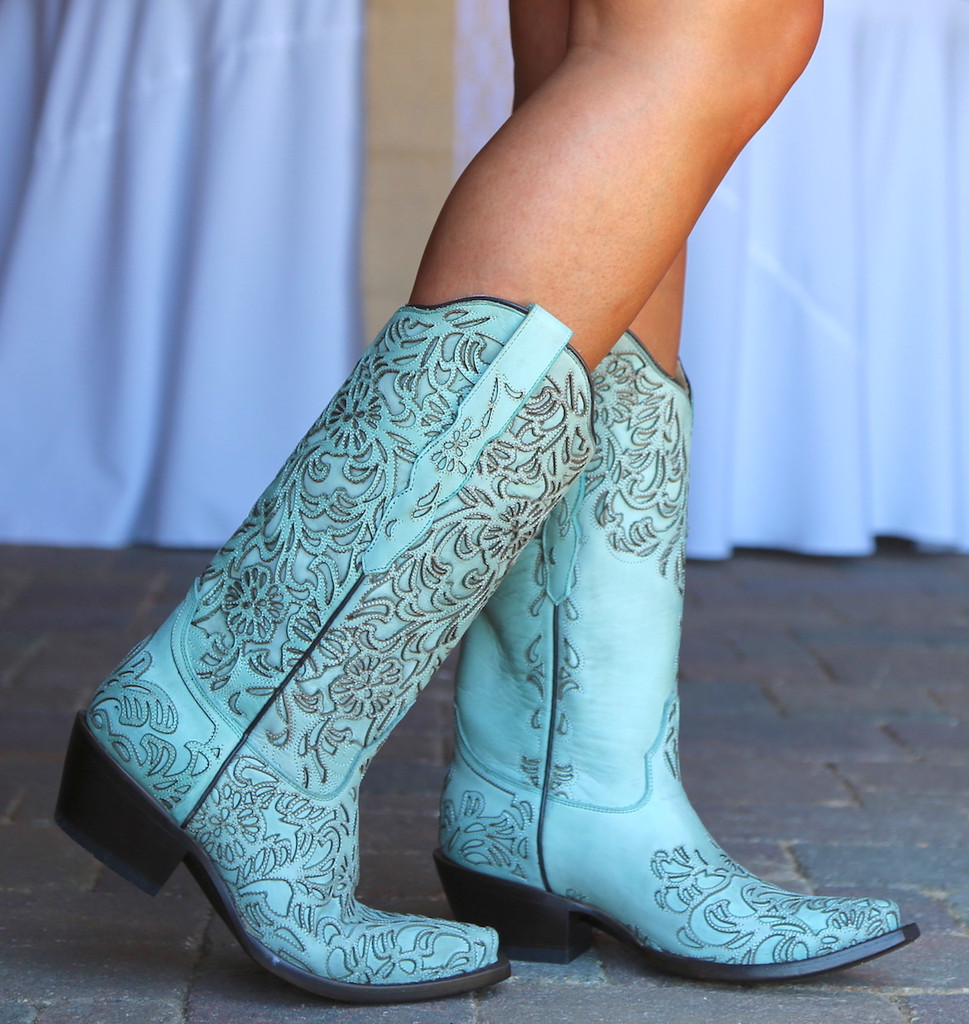 Corral Turquoise Embroidery Boot G1387 Walk