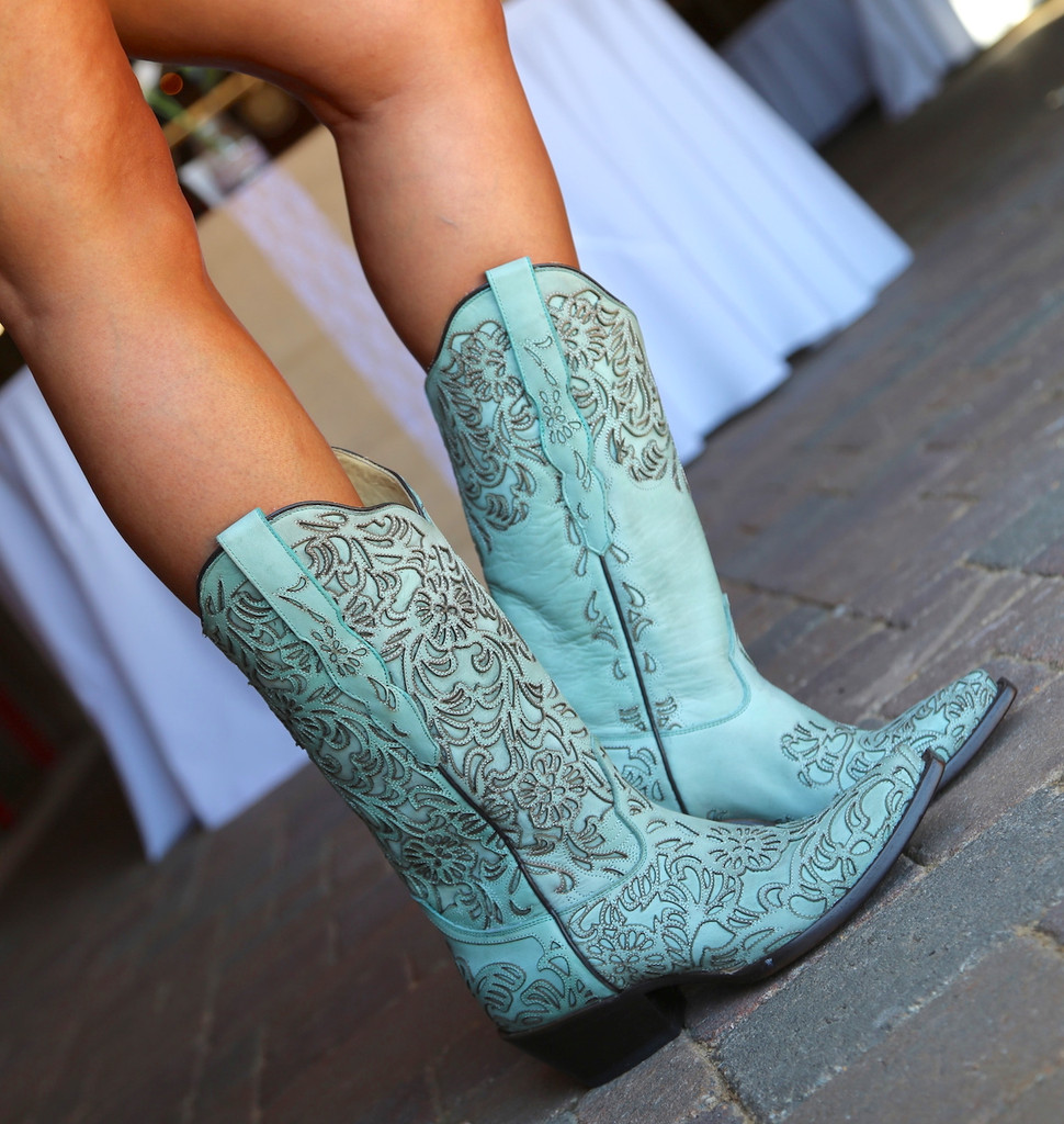 Corral Turquoise Embroidery Boot G1387 Detail