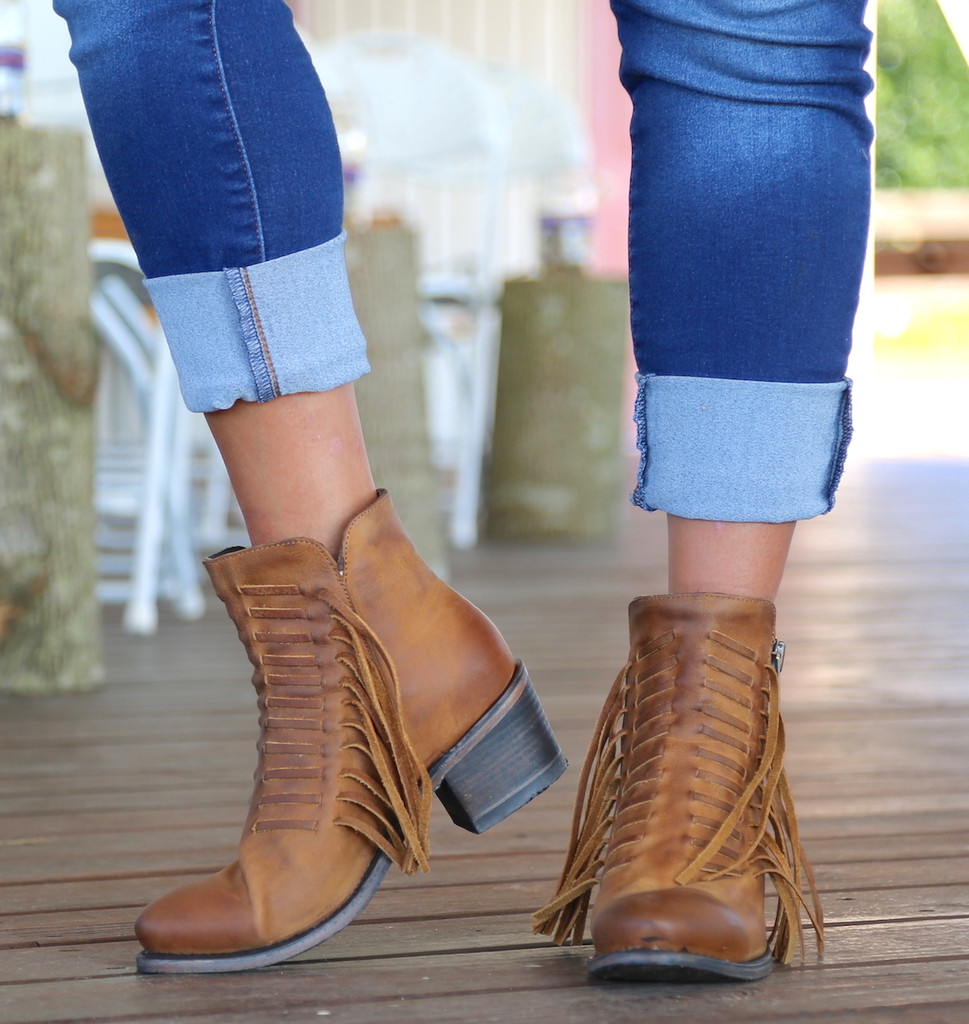 Corral Brown Fringes Ankle Boot E1227 Toe