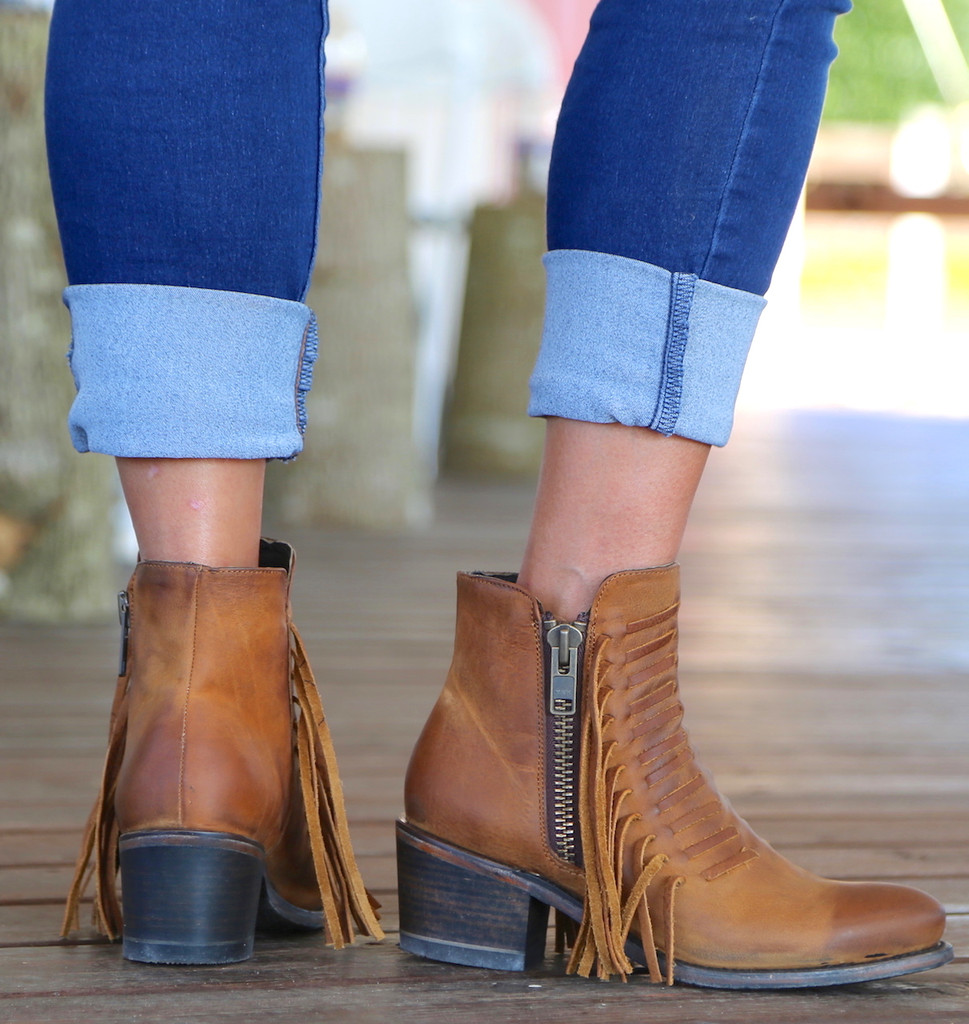 Corral Brown Fringes Ankle Boot E1227 Heel