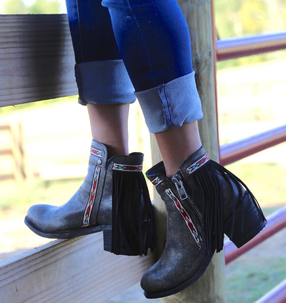 Corral Black Fringes J Toe Ankle Boot E1222 Back