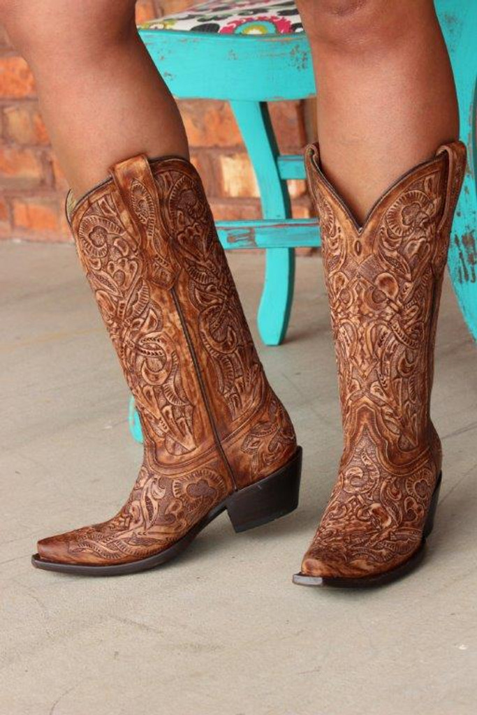 Corral Brown Tooled Boot G1386 Front Image