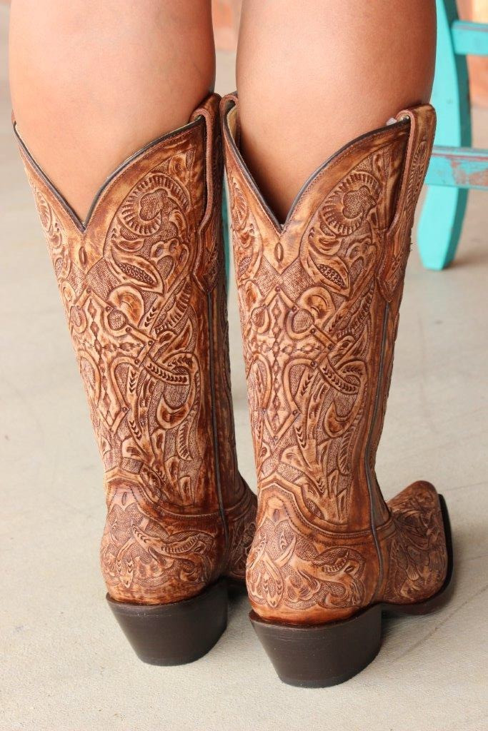 Corral Brown Tooled Boot G1386 Back Image