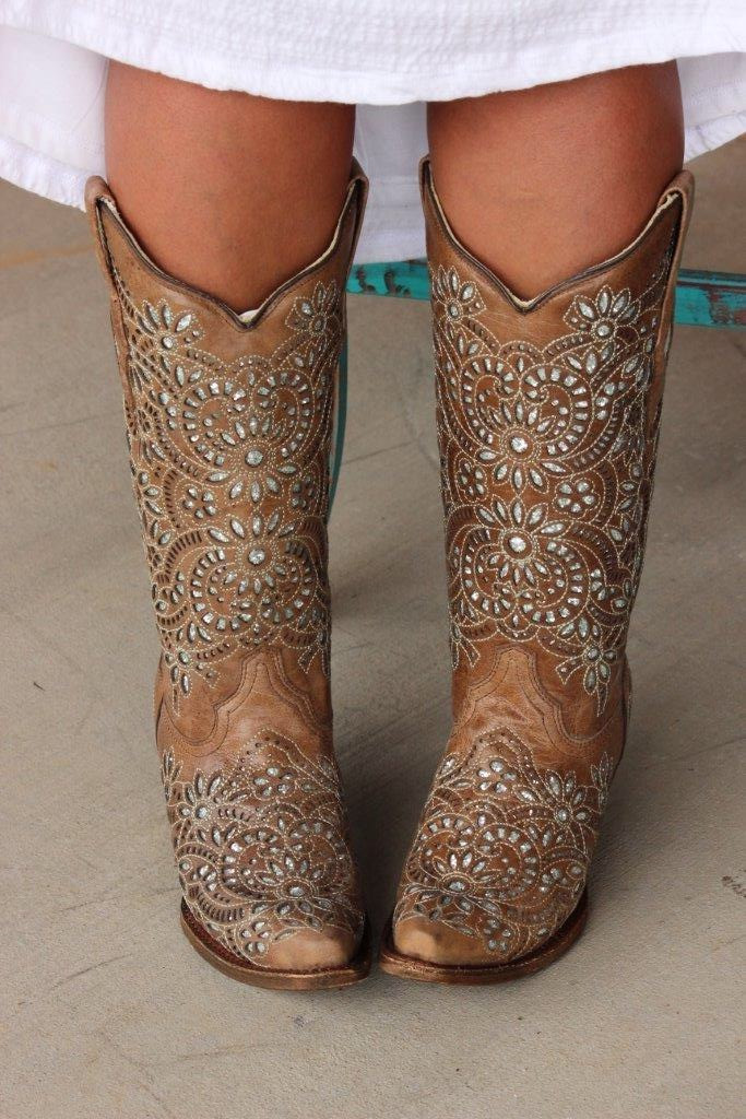 Corral Brown Glitter Inlay and Embroidery Boot A3352 Main Image