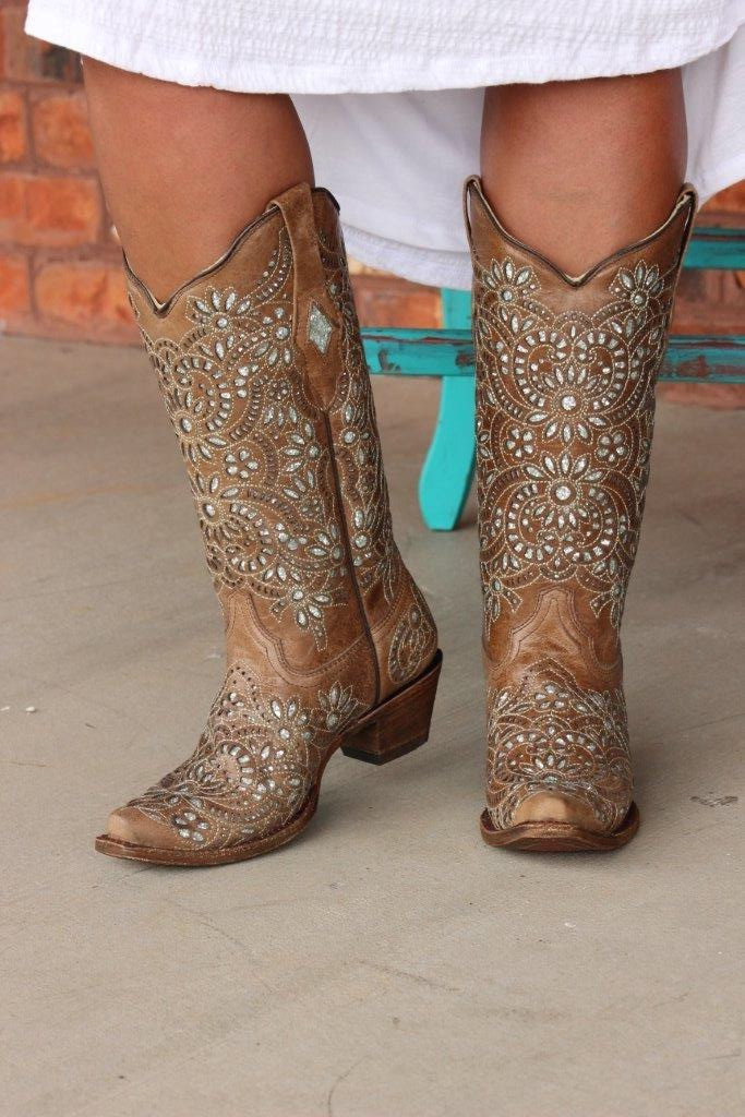 Corral Brown Glitter Inlay and Embroidery Boot A3352 Front Image