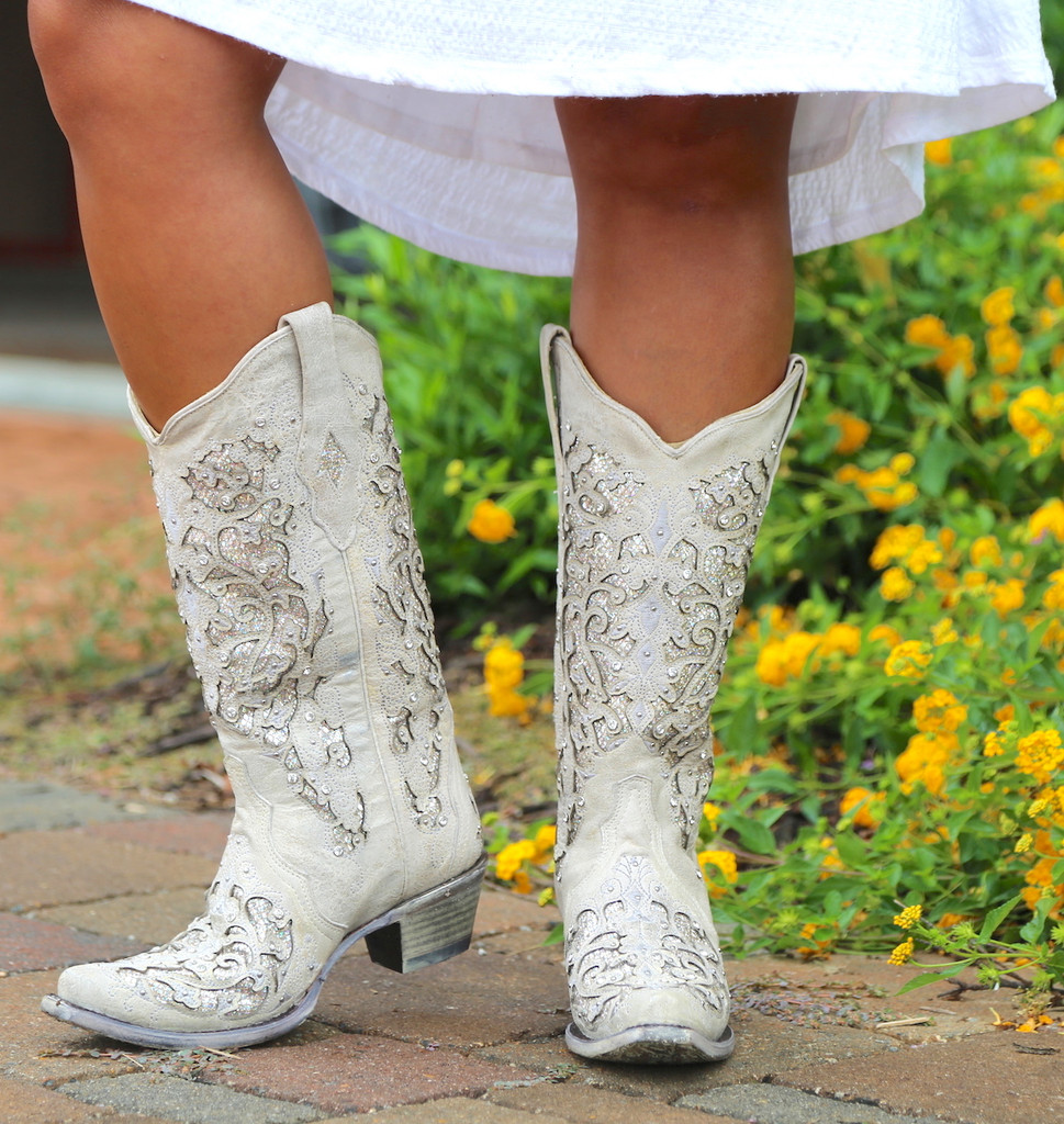 Corral White Glitter Inlay and Crystals Boots A3322 Photo