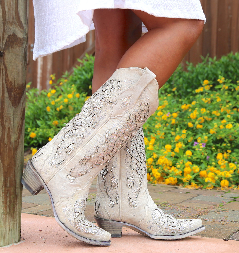 Corral White Glitter Inlay and Crystals Boots A3322 Image