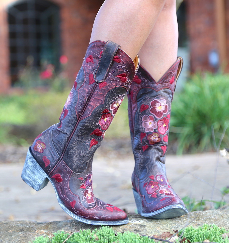 Old Gringo Pansy Chocolate Boots L2621-1 Toe