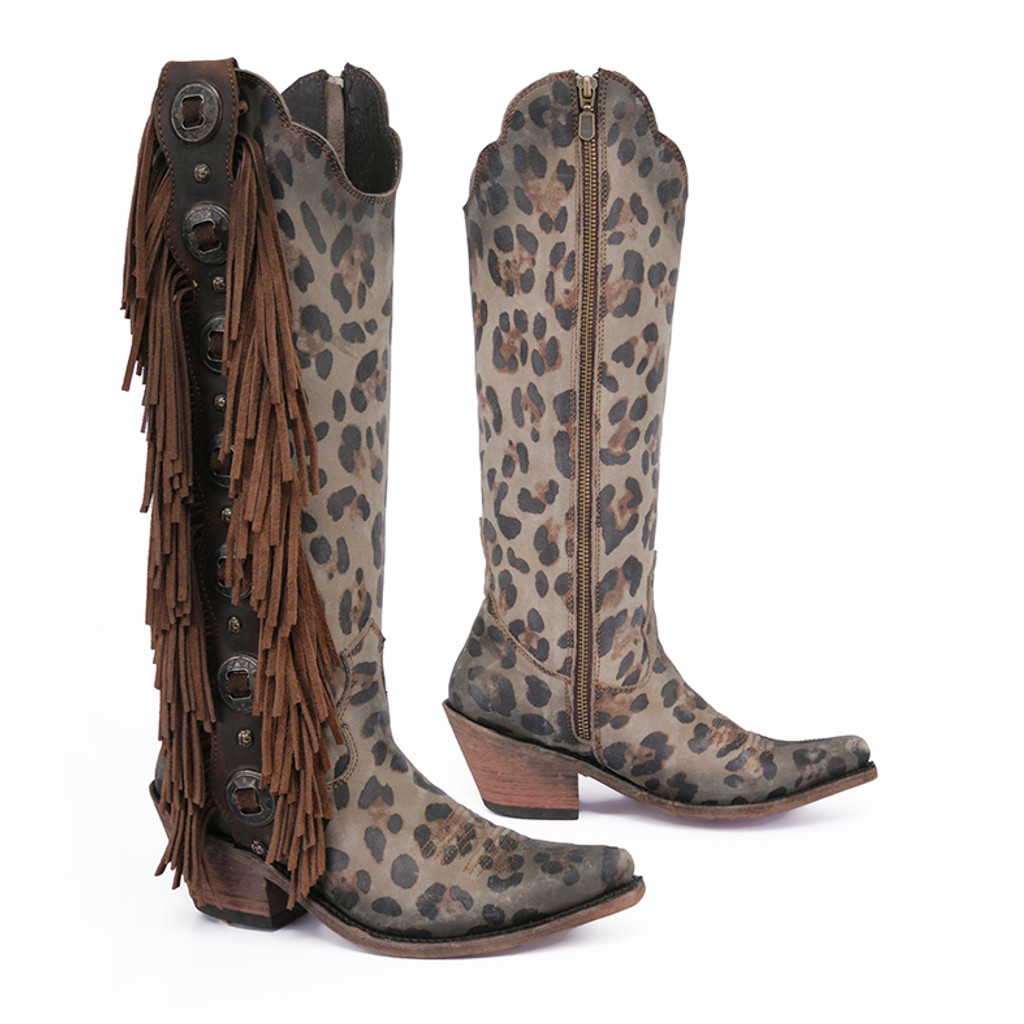 Liberty Black Tall Fringe Concho Chita T Moro Boots LB712953 Picture