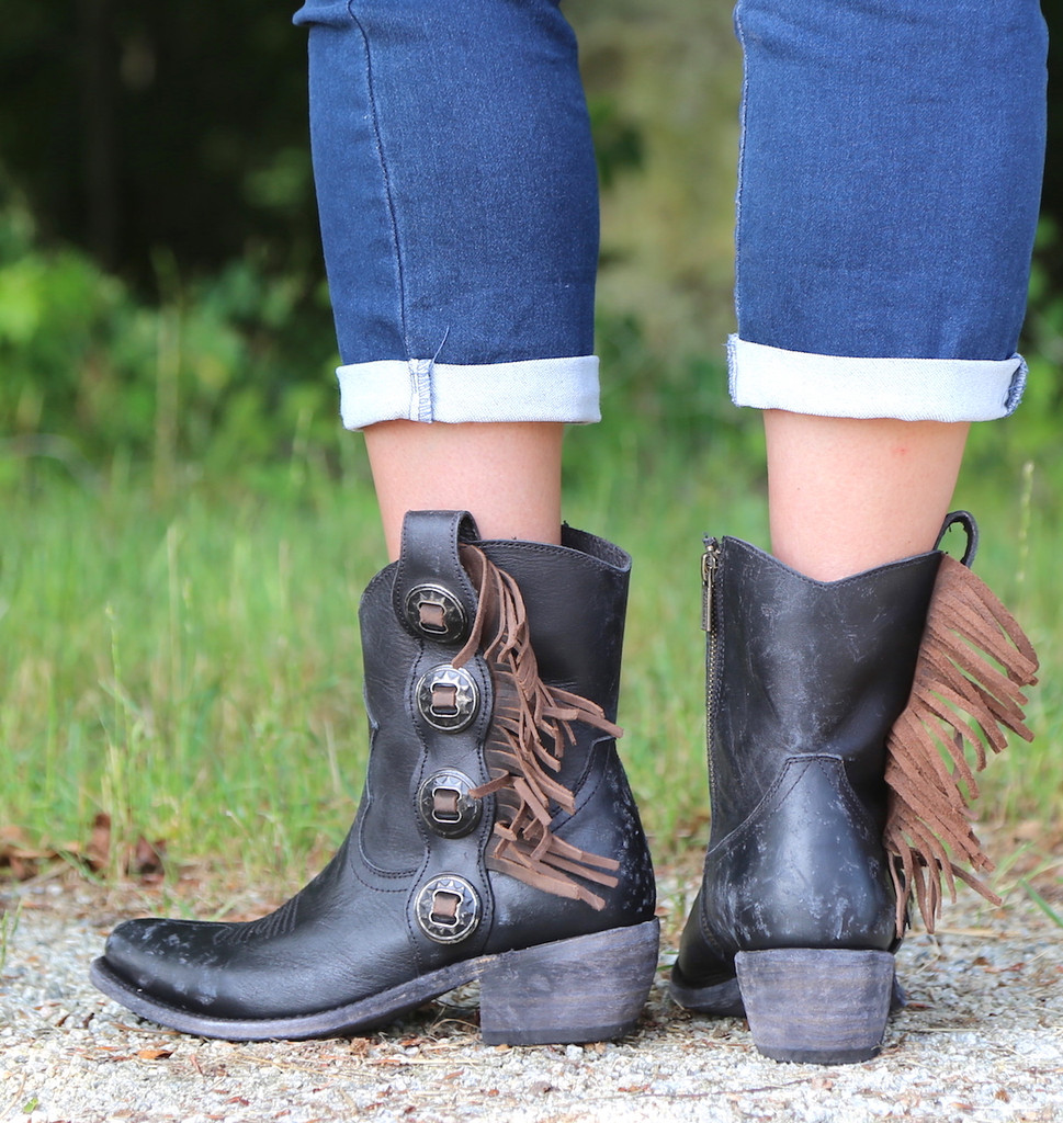 Liberty Black Concho Fringe Shortie Negro Boots LB711158 Heel
