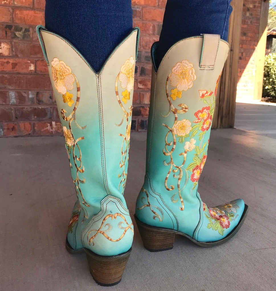 Corral Turquoise Orange Floral Embroidery Boots C3304 Heel