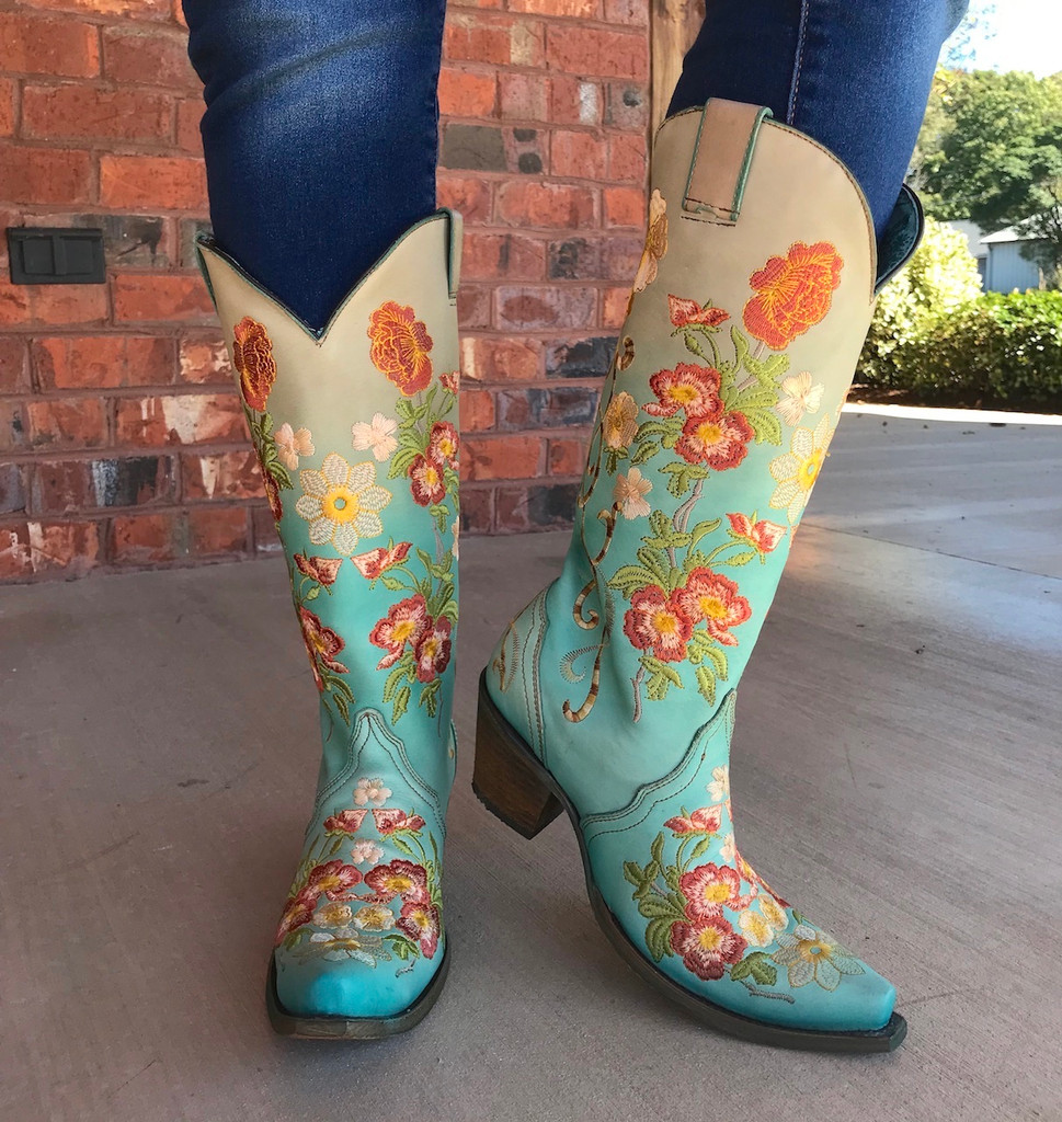 Corral Turquoise Orange Floral Embroidery Boots C3304 Image