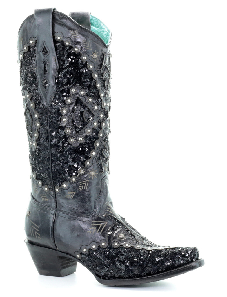 Corral Black Cowhide Inlay Embroidery Boots A3498 Picture